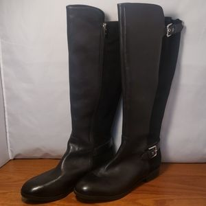 Marc Fisher Wide Calf Tall Shaft Leather Boots Bla